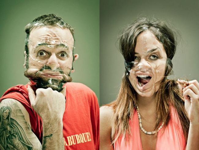 personas deformadas cara cinta adhesiva