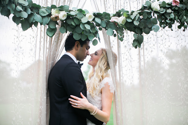 Kate and Vic are about the sweetest couple ever and I was thrilled with the way this silver dollar eucalyptus garland accented the reveal screen at their Misty Valley (Frutig Farms) Wedding.  Trimmed with David Austin Patience and Kiera white and pink garden roses. by sweet pea floral design Detroit Ann Arbor holly rutt