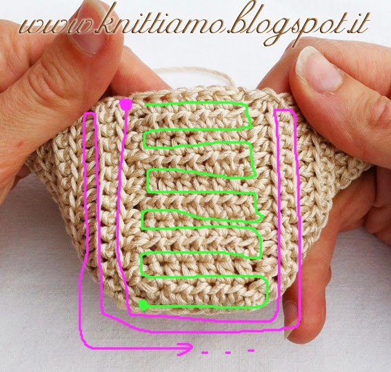 schema scarpa in cotone all'uncinetto