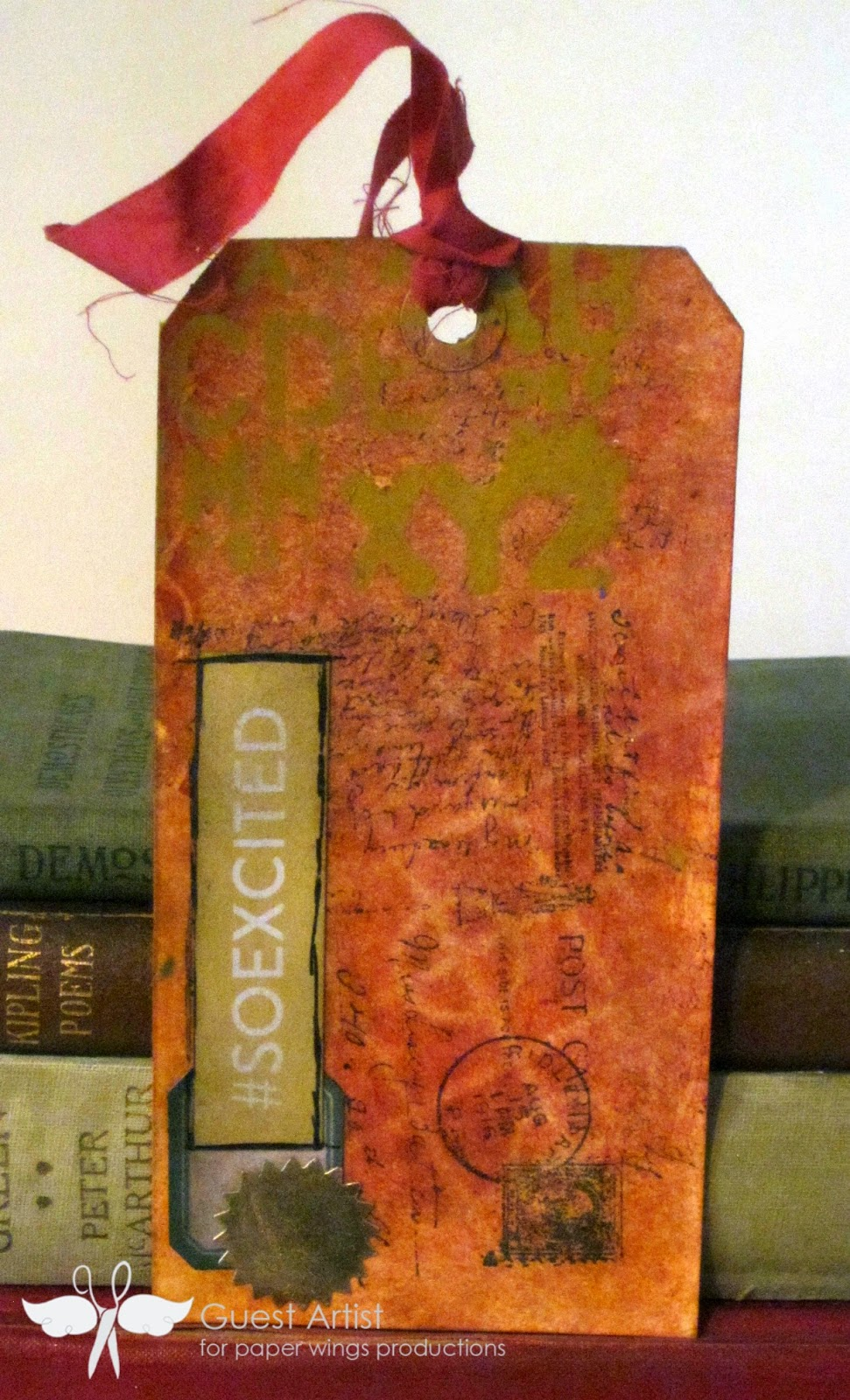 PWP feature friday writing background stamp, mixed media tags created by www.serendipitystudiobycw.blogspot.com
