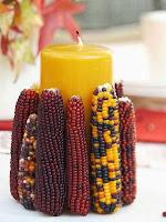 Декорация на свещ с царевица на кочани
