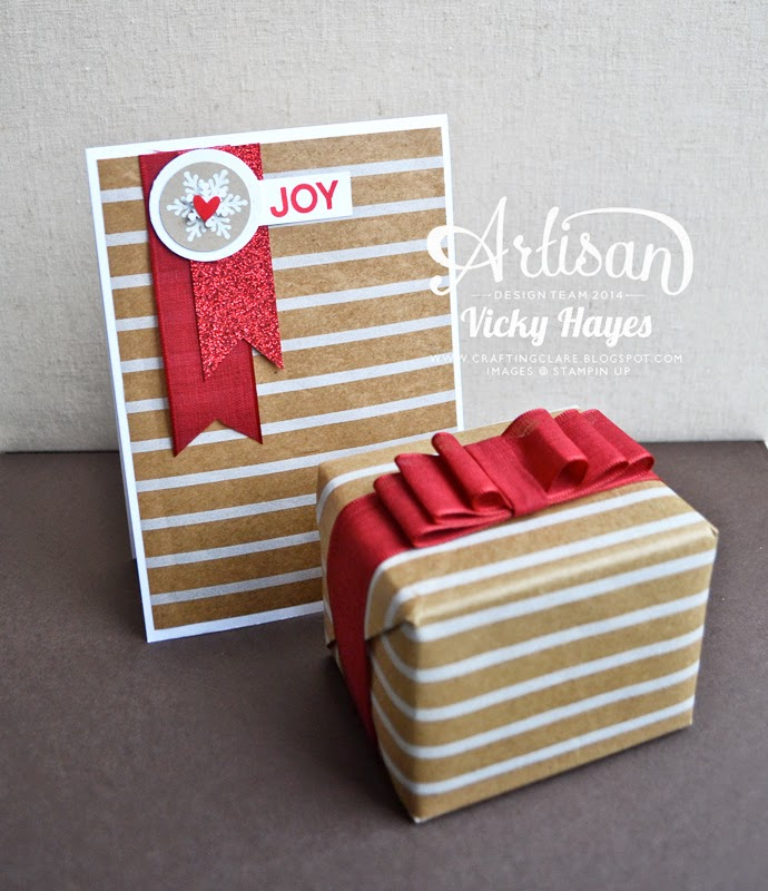 Gift wrapping idea using Stampin' Up gift wrap and ribbon topper