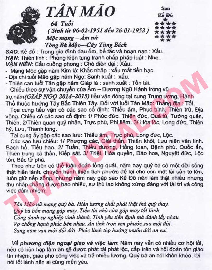 Xem tử vi tuổi Tân Mão nữ mạng năm 2014 Giáp Ngọ
