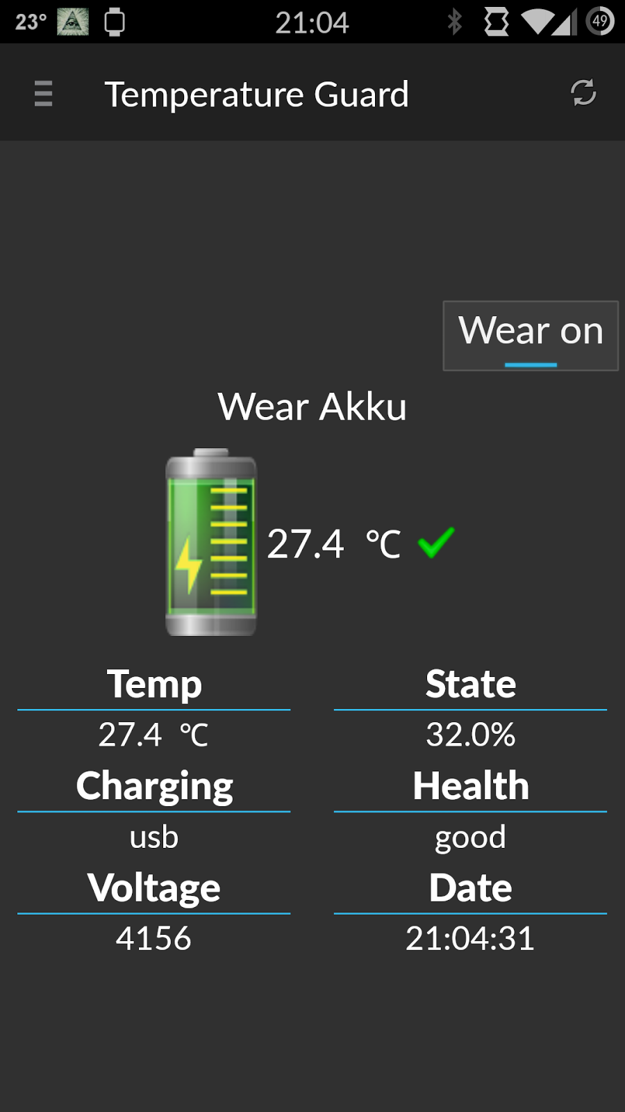 android wearable battery temperature