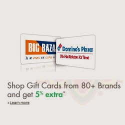 Get 5% extra cashback (Max. Rs.1000) in Gift Cards at Amazon : BuyToEarn