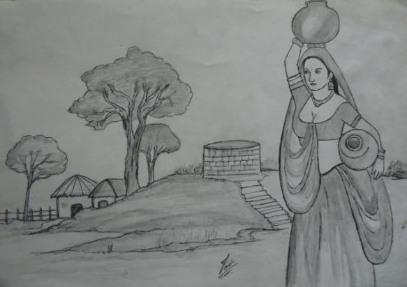 Village girl sketch