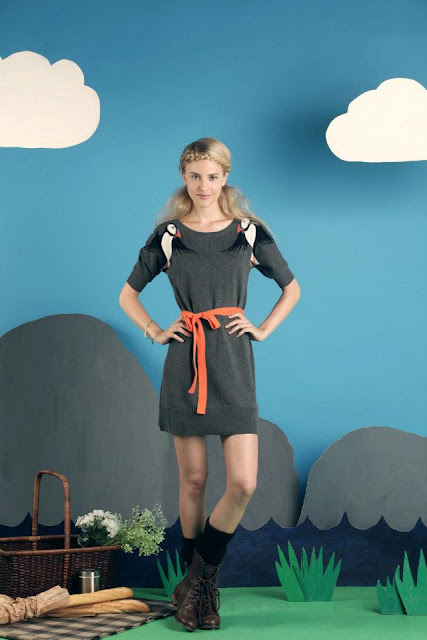 Dark grey Hansel puffin dress