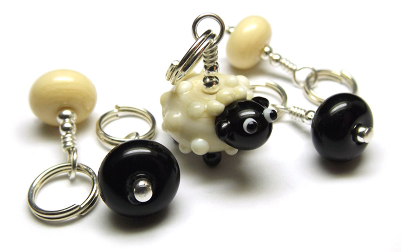 Lampwork glass sheep bead stitch marker set by Laura Sparling
