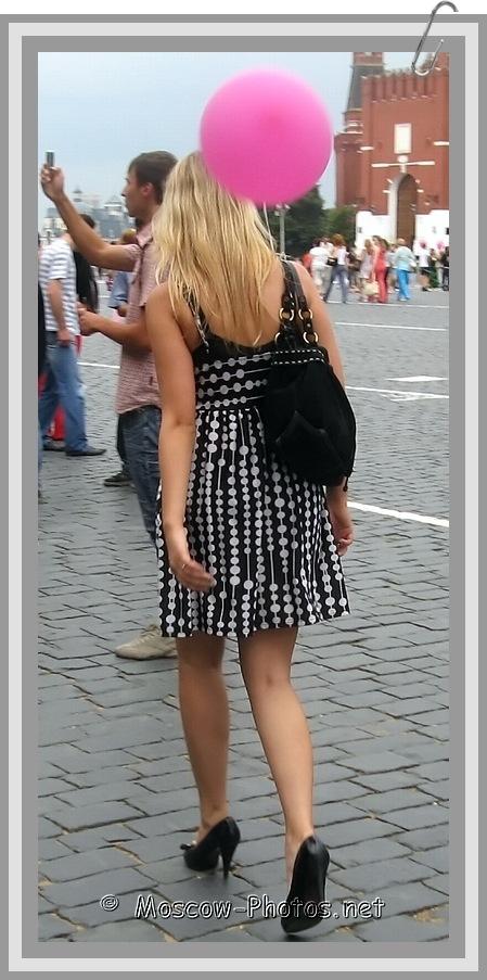 Girl in black-white summer dress