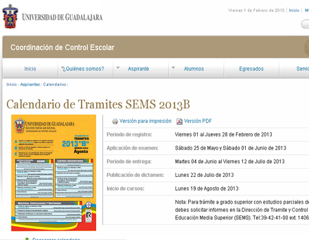 Calendario UDG registro de tramites 2014 B SEMS primer ingreso