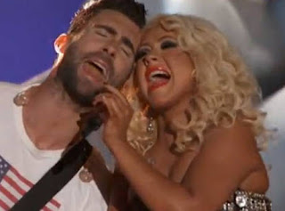 Adam Levine and Christina Aguilera 