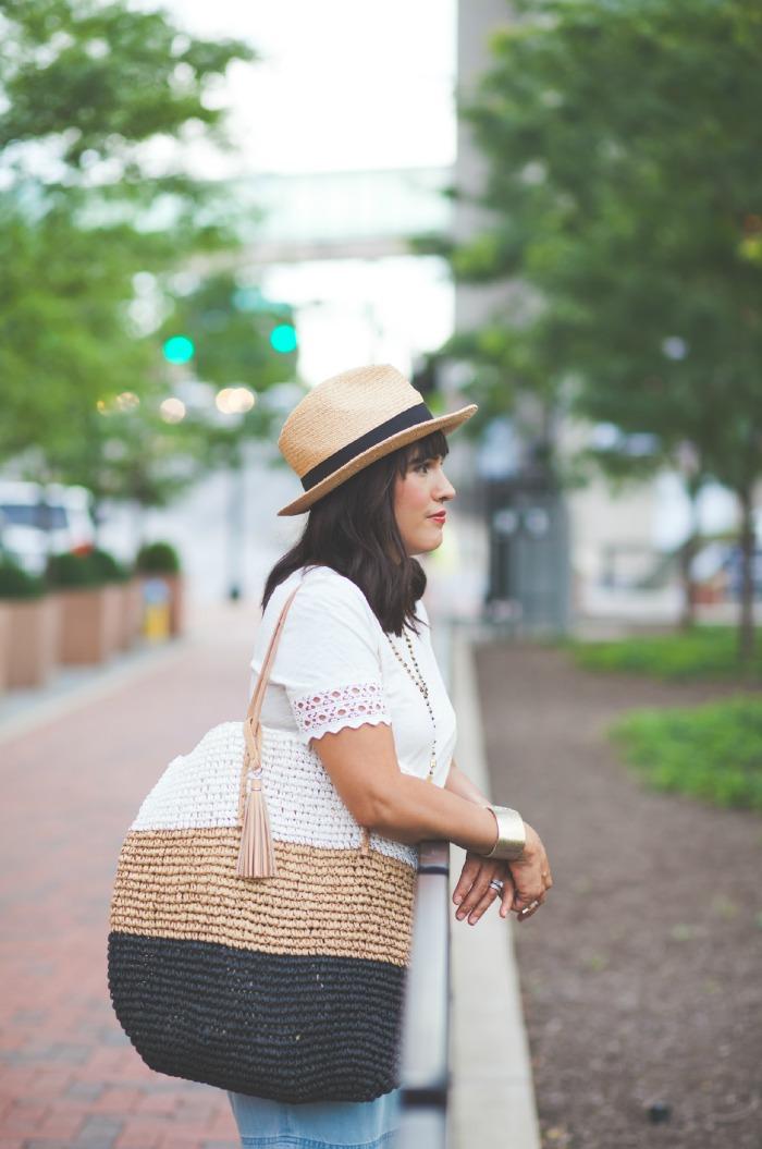 straw tote, fedora & white crochet tee