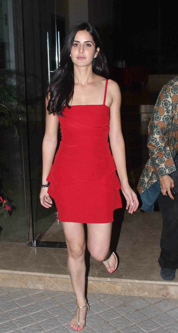 Katrina Kaif  in Red Dress1 - Katrina Kaif  Walking in Red Dress - Hot Pics