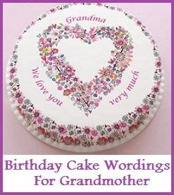 Birthday Cake Wordings Grandmother