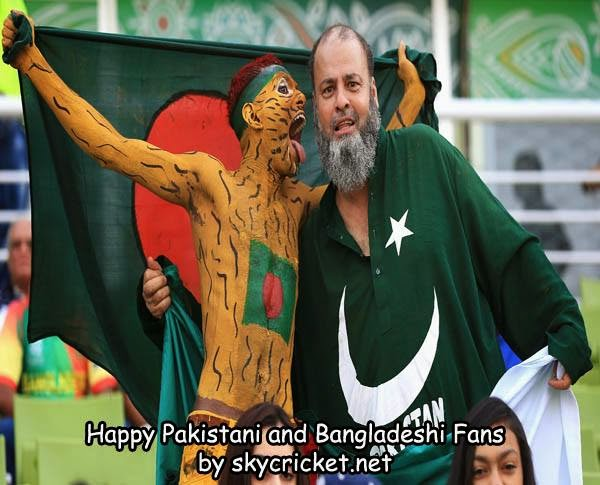 Pakistani and Bangladeshi fans supporting their teams