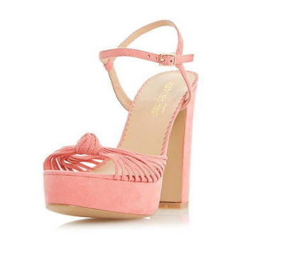 Head Over Heels pink chunky high heeled open toe sandals