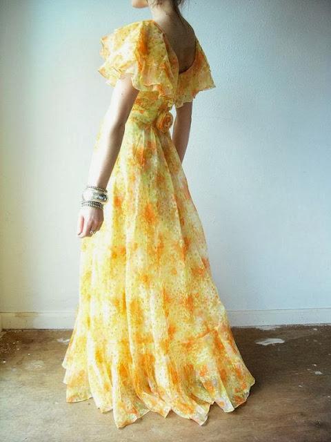 CITRUS SUNSHINE Floral Ruffle Chiffon Flowy Maxi Dress