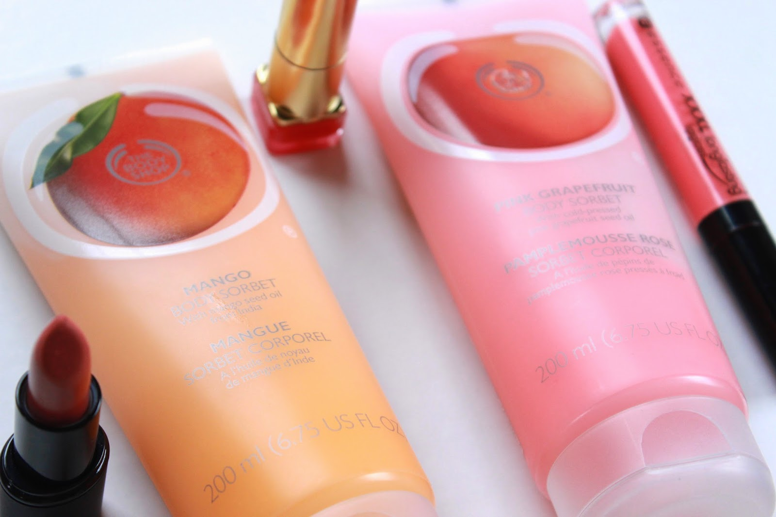 review the body shop body sorbets pink grapefruit mango