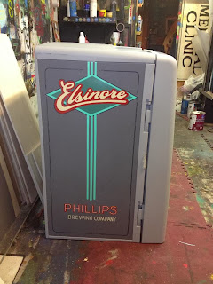 Double sided beer fridge custom hand painted for phillips brewery designed by shawn o keefe and lettered by chris dobell