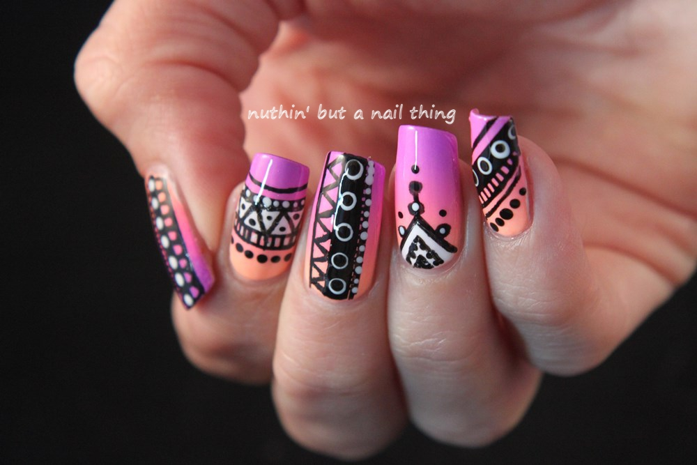 nuthin\' but a nail thing: Neon tribal nail art