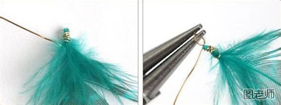 how to make long feather earrings with fish wire