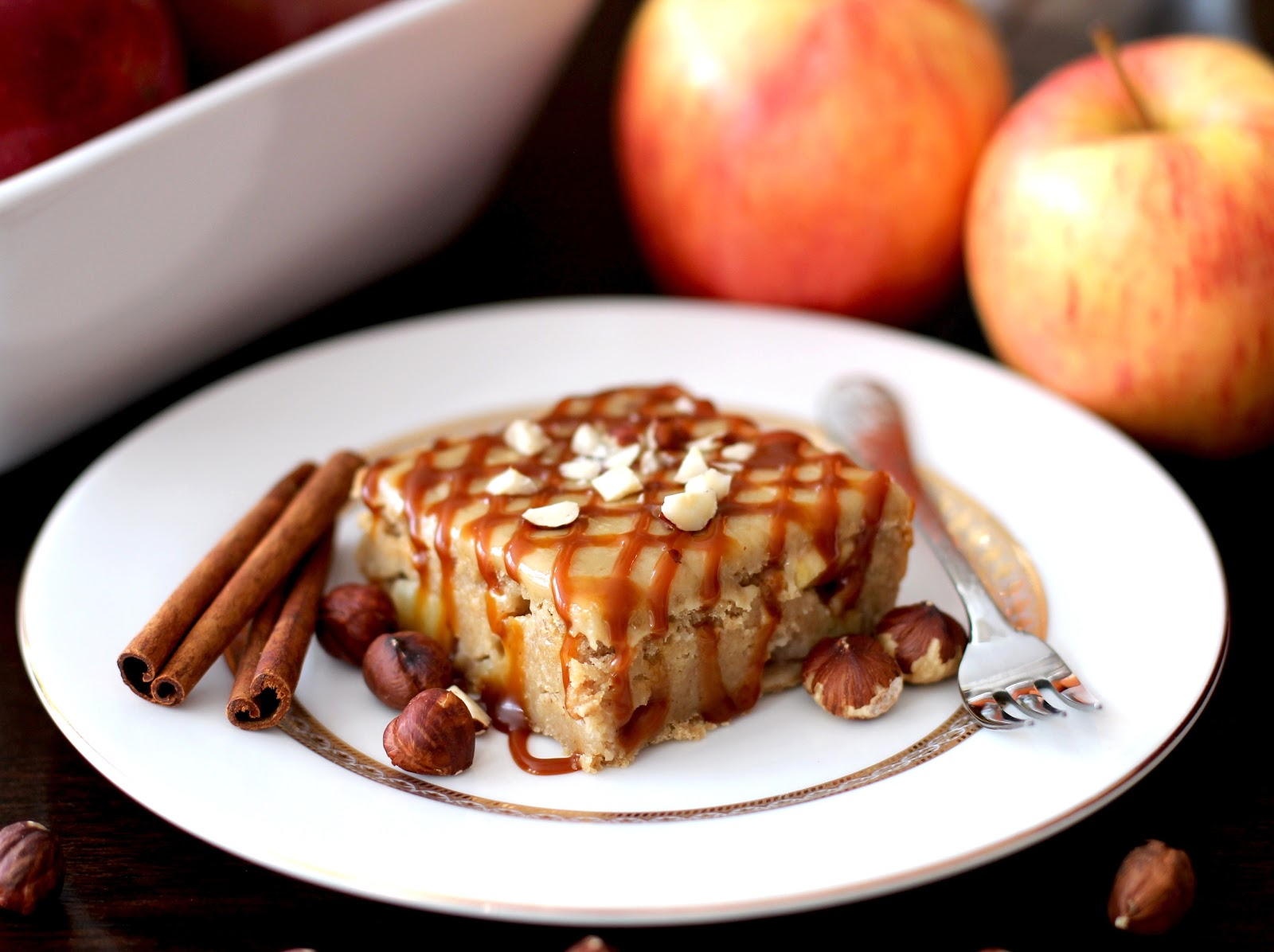 Healthy Apple Pie Blondies with a Brown Sugar Frosting and Caramel Drizzle (low sugar, gluten free, vegan)
