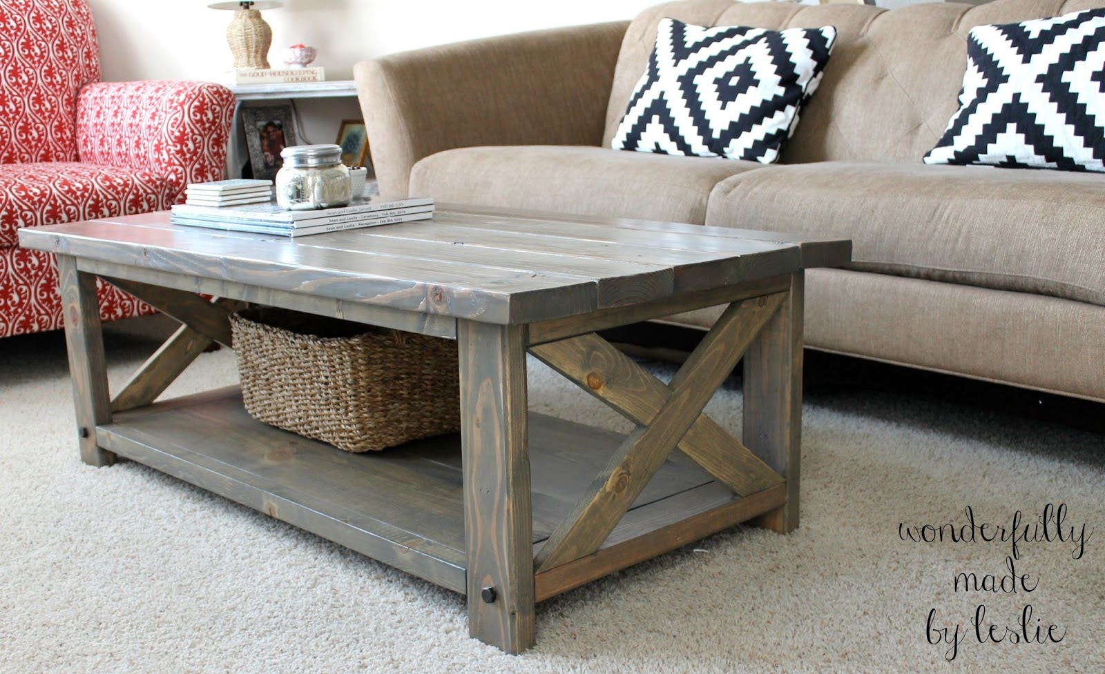 wonderfully made finished diy coffee table. Black Bedroom Furniture Sets. Home Design Ideas