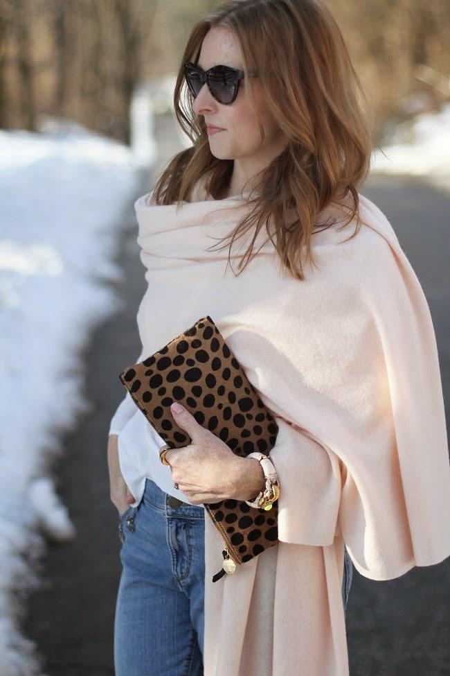 garnet hill, cashmere wrap, loft embellished jeans, kate spade nude heels, clare v leopard clutch, saint laurent sunnies