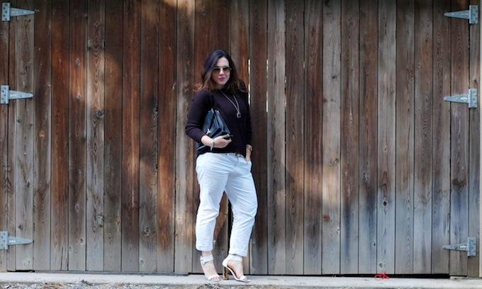 BB Dakota sweater, Gap sexy boyfriend jeans and a Loeffler Randall Rider bag