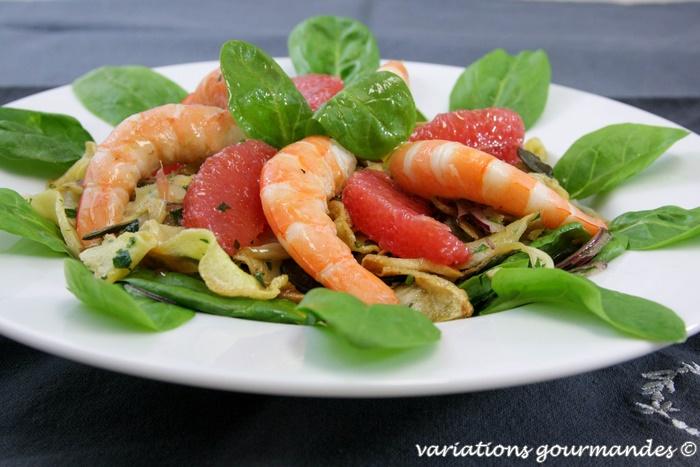 variations gourmandes salade de pousses d pinards pom los crevettes fenouils et panais confits. Black Bedroom Furniture Sets. Home Design Ideas