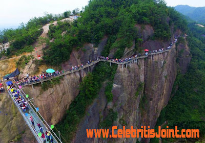 Take a look at the crowd that's been gathering to walk on the bridge, which is 180 meters above the ground, See photos