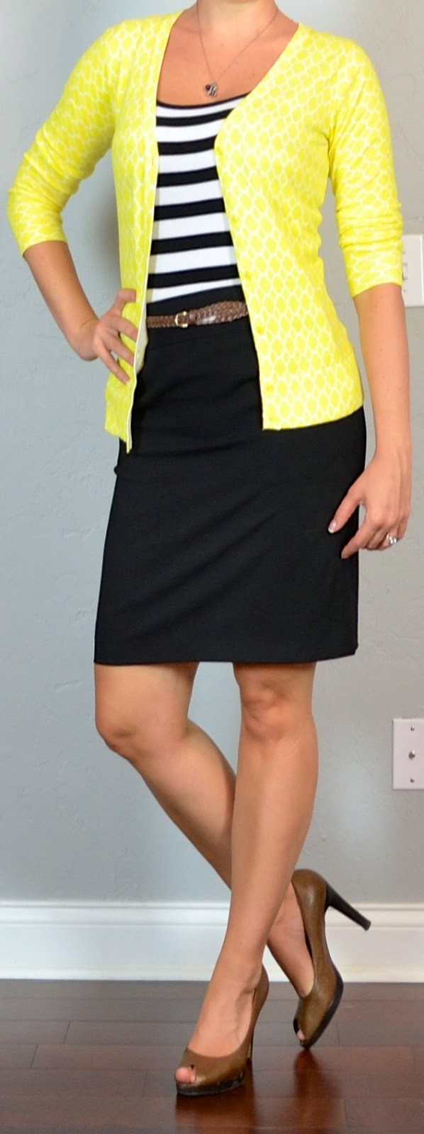 Outfit post striped tank yellow cardigan black pencil ...