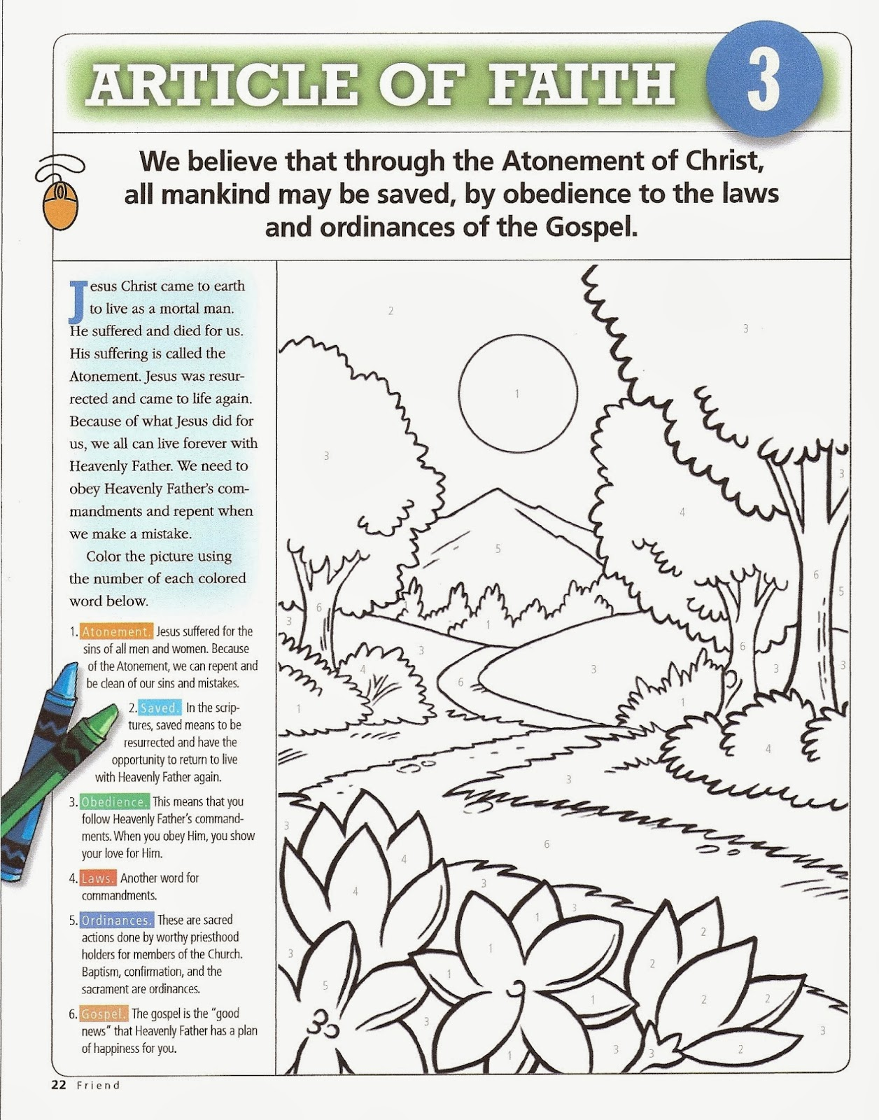 article of faith coloring pages - photo#17