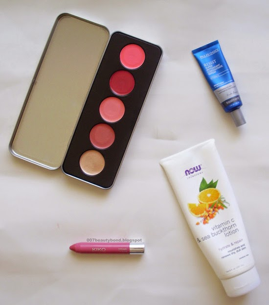 July 2014 favourites Kiko Lipgloss Now Foods, Sea Buckthorn Lotion Paulas Choice Serum Stila Lip Cheek Palette