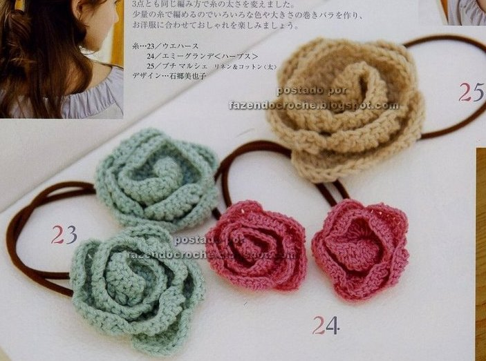 ... - crochet hair tie with pattern ~ ??? ???? NEEDLE CRAFTS