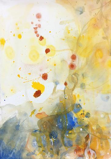 横浜美術学院の中学生教室 美術クラブ 絵の具課題「絵の具のシミから描写しよう!」13