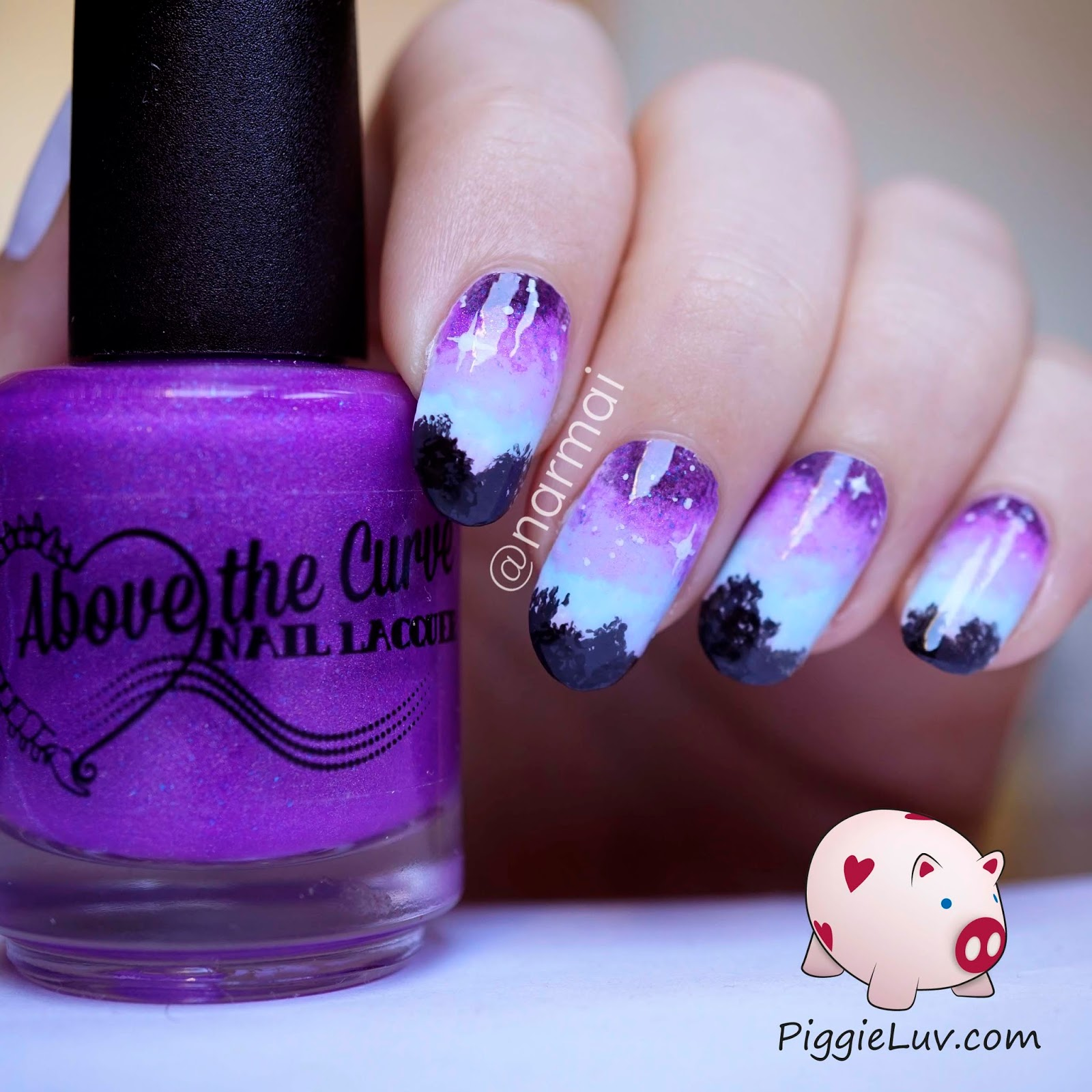 piggieluv over the tree tops glow in the dark nail art
