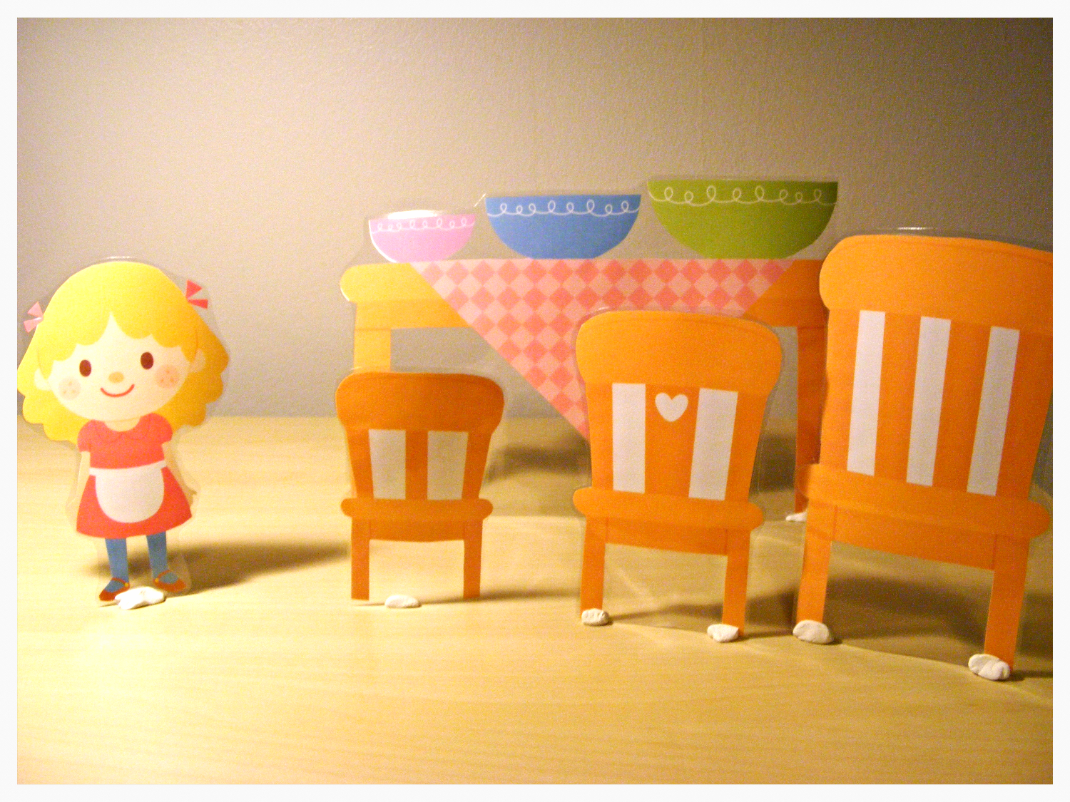 grumpy dumpling goldilocks and the three bears with printed props
