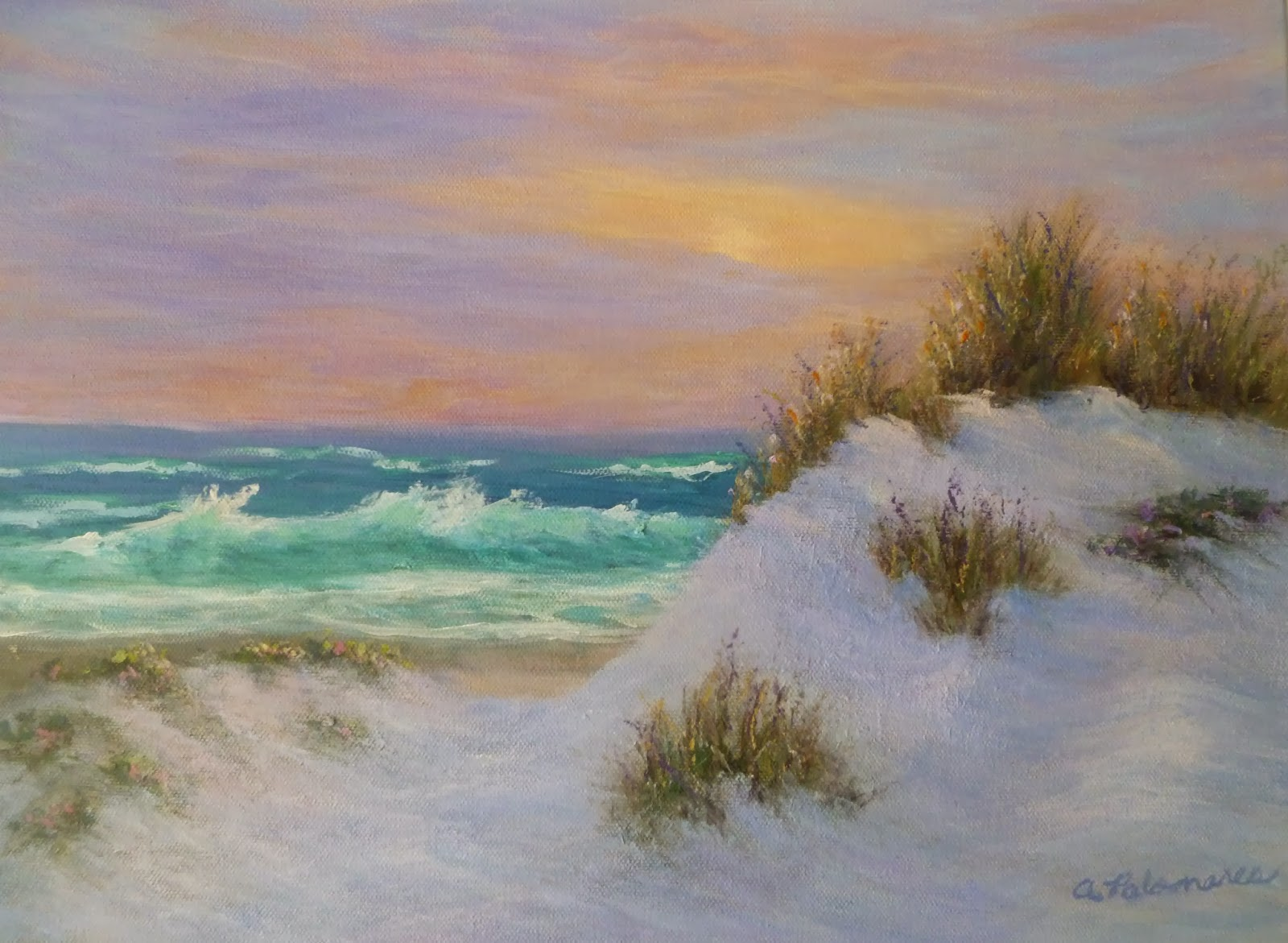 Painting of dunes, ocean and sunset