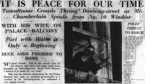 Newspaper Chamberlain Peace in our time 1938