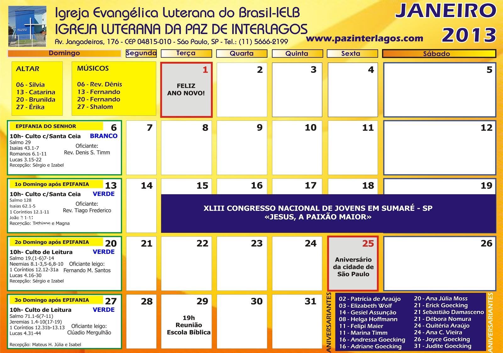 2013   01   Calend  Rio Janeiro 2013