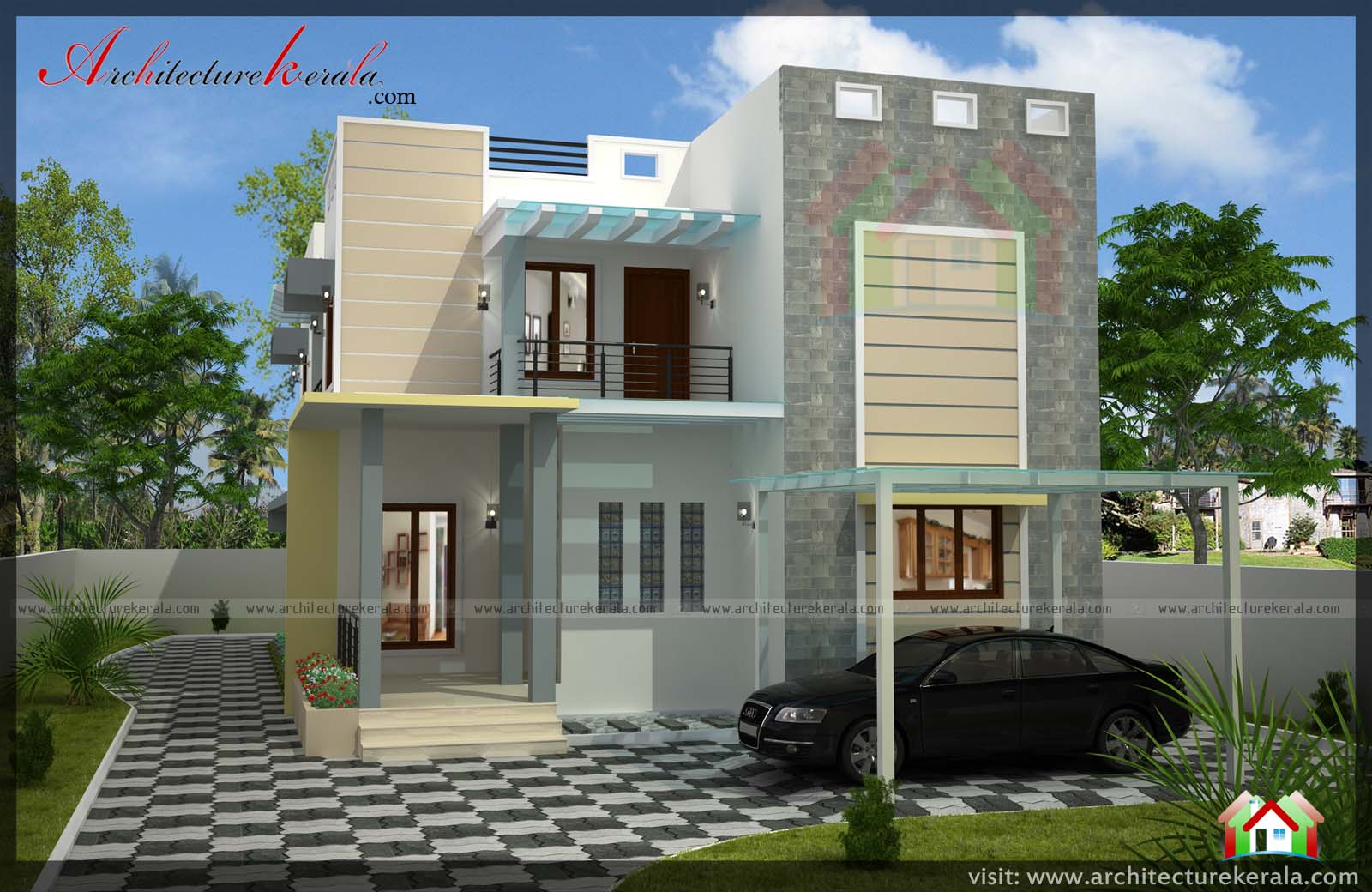 2400 square feet 4 bedroom kerala house architecture kerala. Black Bedroom Furniture Sets. Home Design Ideas