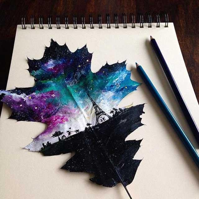 """بالصور.. """"Joanna Wirażka"""" فنانة بولندية تحول أوراق الشجر إلى لوحات فنية رائعة"""