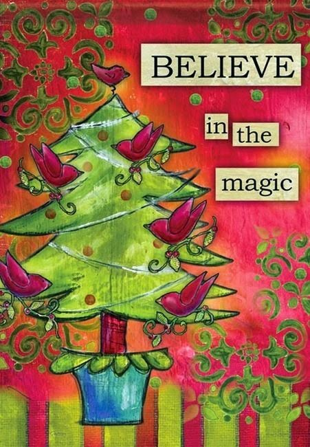 believe in the magic christmas garden flag