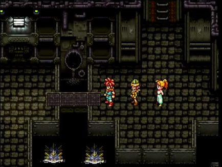 Crono and the party take on monsters in the Abandoned Sewers of 2300 AD