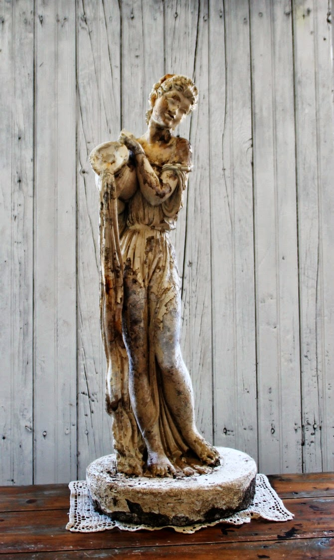 Vintage Garden Statue Greek Woman Pouring Water via knickoftimeinteriors.blogspot.com
