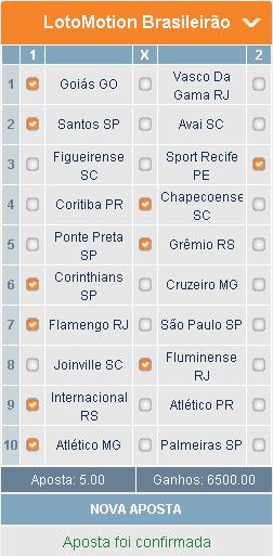 LOTOMOTION BRASILEIRÃO - 20ª RODADA - APOSTA 01