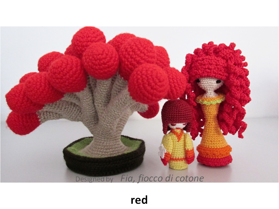 Translate Japanese Amigurumi : Fia, fiocco di cotone: pink and red
