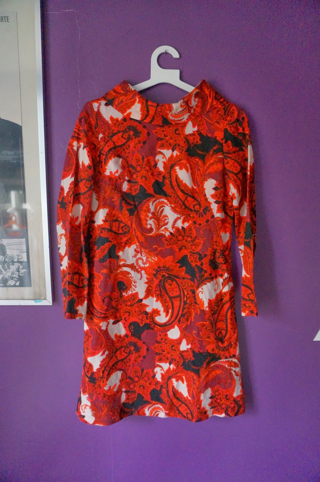 vintage psychedelic paisley dress 1960 60s 1970 70s