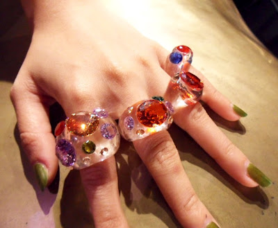 77th: super clear crystal resin ring and collar